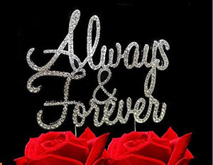 Always and Forever Bling Party Supplies Centerpiece Cake Topper Genuine Crystal Rhinestones Elegant