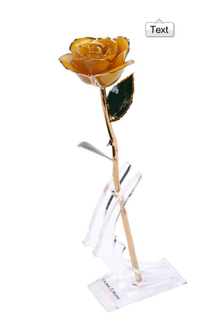 Authentic Rose With Long Stem Dipped In 24k Gold designed by DuraRose®  with stand and Love Card