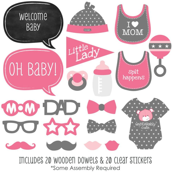 Baby Girl 20 Pc Photo Booth Props Kit For Shower First