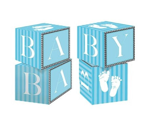 Baby Shower Sweet Little Feet Cardstock Blocks Centerpiece Decoration Favors