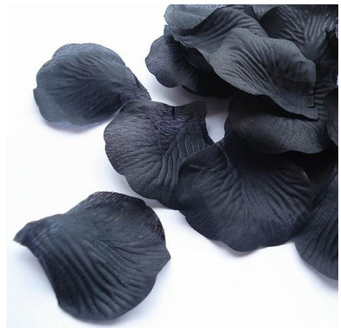 1000 Pc Artificial Black Silk Single Rose Petals Wedding Decor