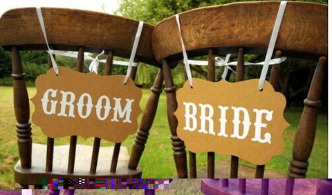Bride Groom Wedding Party Hanging Sign Banner Ribbon Paper Set