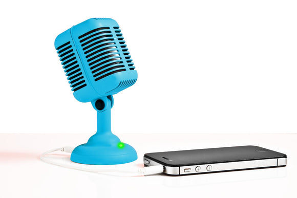 Bright Blue Microphone Portable Rockabilly Microphone Speaker