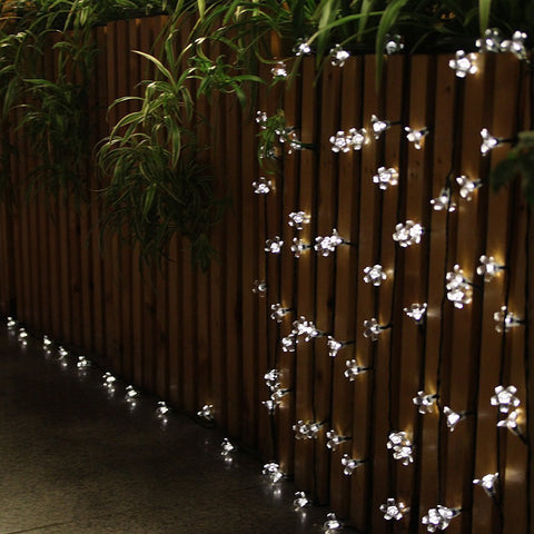 Cool White 50 LED Peach Blossoms String Curtain Light for Christmas Wedding Garden Party Home Decoration