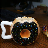 Brown Chocolate Ceramic Donut with Sprinkles Coffee Cup Mug