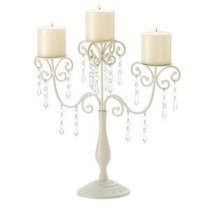 White Dripping Acrylic Crystals Ivory Candelabra Wedding Gift Centerpiece Candle Holder Receptions