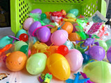 "25 Pre Filled Toys Easter Eggs Ready to Play 2"" Pastel Plastic Egg Tattoos Stretchy Erasers Bounce Ball Fun Kids Children"