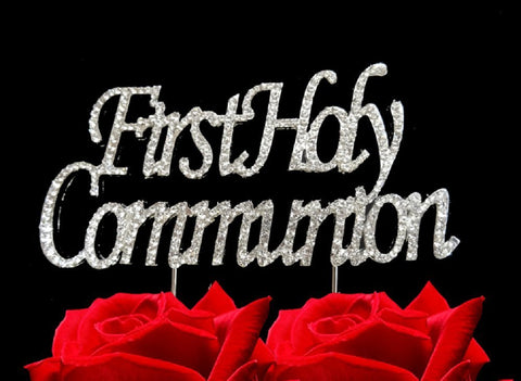 First Holy Communion Bling Party Supplies Centerpiece Cake Topper Genuine Crystal Rhinestones Elegant