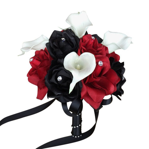 "8"" Gothic Dark Wedding Bouquet  Apple Red Black Rose and White Calla Lily"