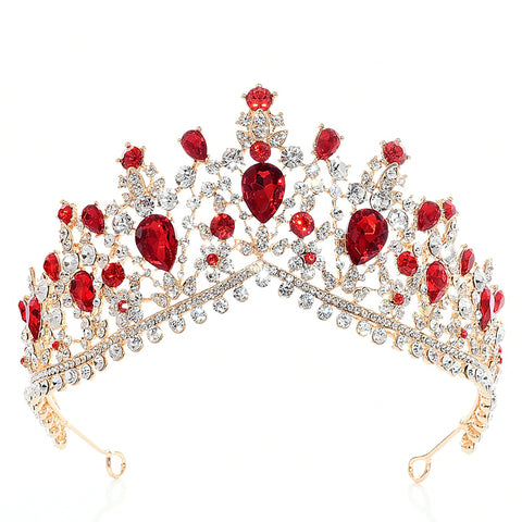 Red Clear Crystal Rhinestone Gold tone Tiara Princess Prom Wedding Bridal Hair Jewelry Quinceanera Pageant headband Crown RCC0111