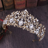 Clear Crystal Leaf Gold Tone Metal Tiara Crown CLR1208