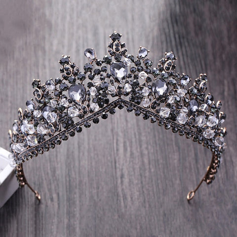 Black Silver gray Crystal Rhinestone Bronze tone Tiara Princess Prom Wedding Bridal Hair Prom Quinceanera Pageant headband Crown BG0515
