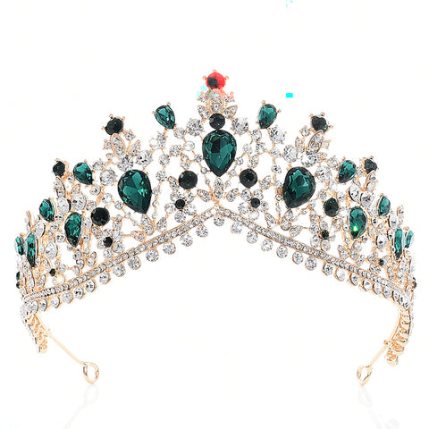 Green Rhinestone Gold tone Tiara Princess Prom Wedding Bridal Hair Jewelry Quinceanera Pageant headband Crown GG0410