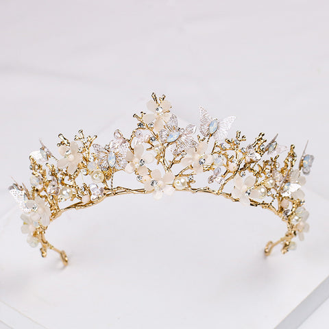 Baroque Vintage Butterfly Flowers Rhinestone Gold tone Tiara Princess Prom Wedding Bridal Hair Quinceanera Pageant headband Crown BV0328