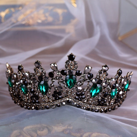 Green Black Rhinestone Bronze Tiara Princess Prom Wedding Bridal Hair Jewelry Quinceanera Pageant headband Crown GM0111