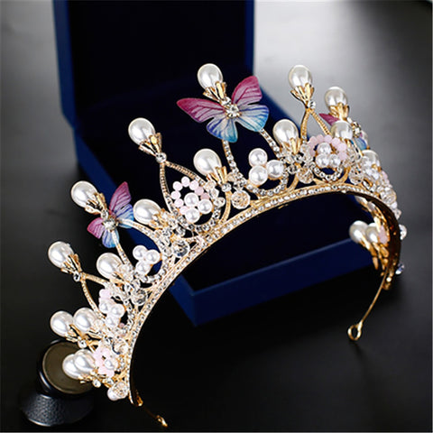Butterfly Pearl clear rhinestone  Flower Princess Prom Wedding Bridal Hair Jewelry Quinceanera Pageant headband Crown PB1117