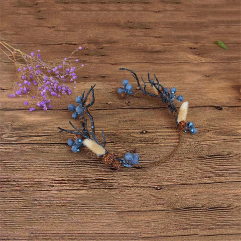 Blue Branch Forest Crown Twigs Pinecone Tiara Princess Prom Wedding Bridal Hair Jewelry Quinceanera Pageant headband Garland BT0415