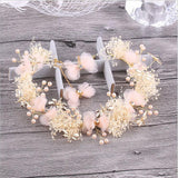Dragonfly Flower Gold tone Girl Princess Butterfly Pink Pearl Prom Wedding Bridal Hair Pageant headband Crown DP1117