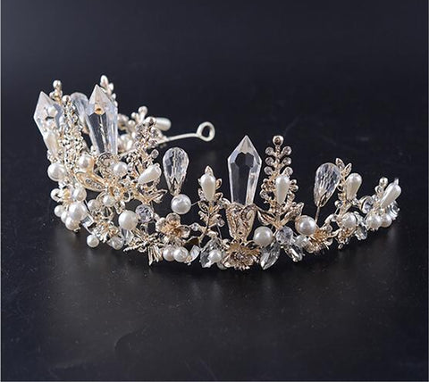 Large Clear Crystal Rhinestone Silver tone Pearl  Tiara Princess Prom Wedding Bridal Hair Quinceanera Pageant headband Crown earrings CP1117
