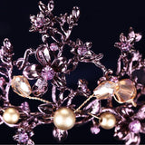 Purple Flowers Beads Bronze Tone Crystals Tiara / Princess Prom Wedding Bridal Hair Jewelry / Quinceanera Pageant headband Crown PCT0111