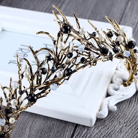 Black Beaded Bronze Crystal Tiara Princess Prom Wedding Bridal Hair Jewelry Accessories Quinceanera Pageant headband Crown  BBB1111