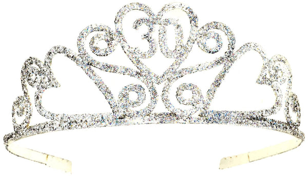 Happy 30th Birthday Silver tone Glitter Tiara