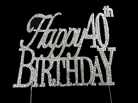Happy 40th Birthday Anniversary Party Supplies Centerpiece Cake Topper Genuine Crystal Rhinestones Elegant