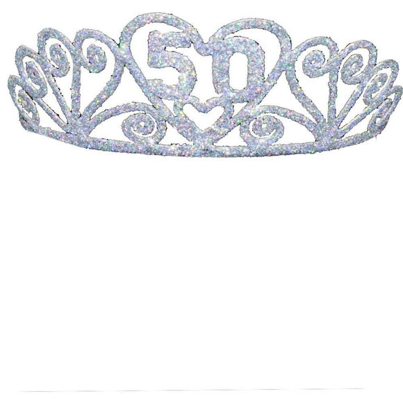 Happy 50th Birthday Silver tone Glitter Tiara
