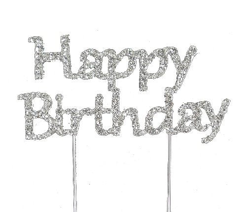 Happy Birthday Bling Party Supplies Centerpiece Cake Topper Genuine Crystal Rhinestones Wedding Elegant