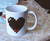 Pixel Heart 12 Oz Heat Sensitive Color Changing Ceramic Coffee Cup Mug