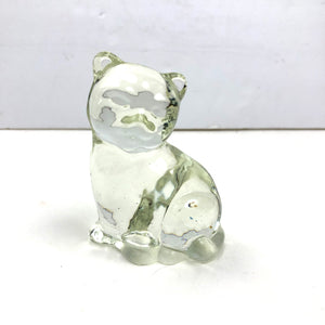 VTG Clear Glass Cat paperweight
