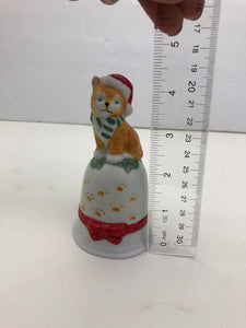 VTG Santa Paws White Porcelain Christmas Cat Bell