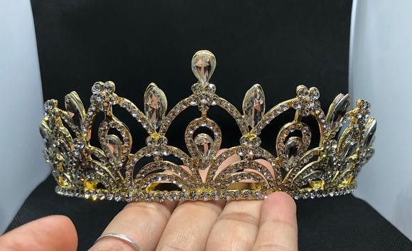 Clear Crystal Gold tone metal Tiara headband Crown CC119