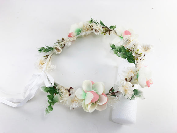 Pink Ivory Beads Flower Ribbon headband Crown GIF0415