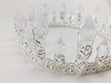 Crystal Resin Quartz Pearl Mermaid Rhinestone Silver tone Tiara Princess Prom Wedding Bridal Hair Quinceanera Pageant headband Crown CR0328