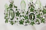 Light Green Crystal Resin Quartz Mermaid Silver tone Tiara Princess Prom Wedding Bridal Hair Quinceanera Pageant Crown with earrings LG1107