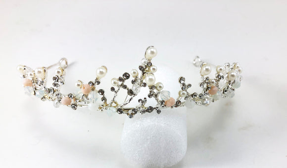 Clear Crystal Rhinestone Pearl Branch Silver tone Tiara Princess Prom Wedding Bridal Hair Jewelry Quinceanera Pageant headband Crown SP0429