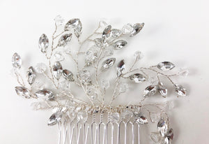 Clear Rhinestone Silver Tone Hair Clips Combs Wedding Bridal Princess Floral CH0321