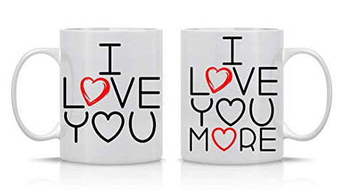 I love you - I Love you More Couple Ceramic Coffee Mug Set