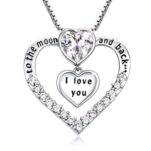 I Love You to The Moon and Back Heart Shape Pendant Necklace