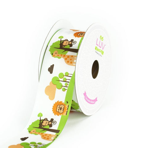 "Jungle Safari Wild Theme Satin Ribbon 1.5"" Wide Crafts DIY"