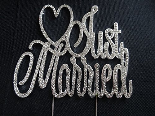 Just Married Bling Party Supplies Centerpiece Cake Topper Genuine Crystal Rhinestones Wedding Elegant