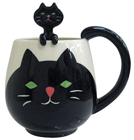 Kawaii Rounded Black Cat Ceramic Coffee Cup Mug with Matching Spoon