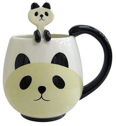 Kawaii Rounded Black and White Panda Ceramic Coffee Cup Mug with Matching Spoon