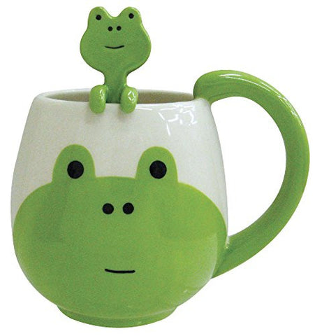 Kawaii Rounded Green Frog Ceramic Coffee Cup Mug with Matching Spoon