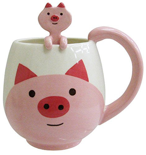 Kawaii Rounded Pig and White Pig Ceramic Coffee Cup Mug with Matching Spoon