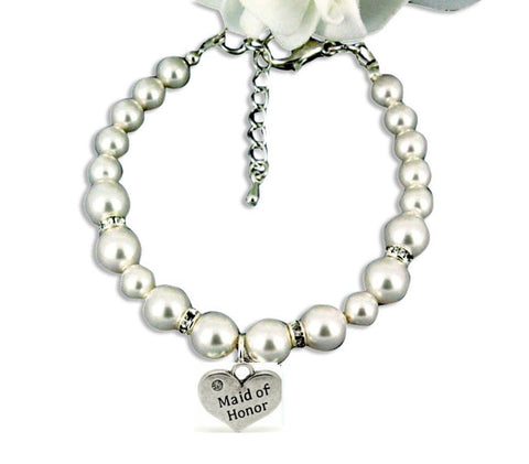 Maid of Honor Gift Bracelet White Crystal Pearls Silver Tone Heart w/Sparkling Rhinestone
