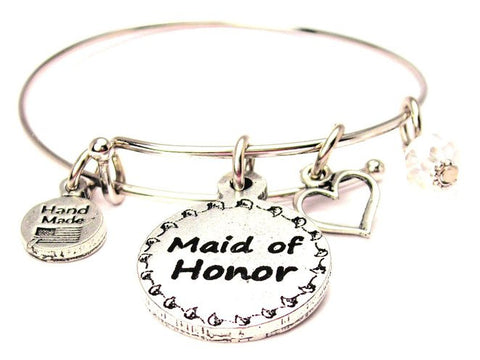Maid of Honor Adjustable Wire Bangle Charm Bracelet Single Stacker