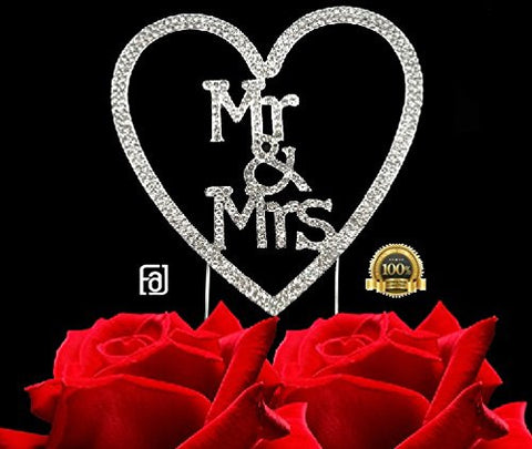 Mr and Mrs Bling Heart Party Supplies Centerpiece Cake Topper Genuine Crystal Rhinestones Wedding Elegant