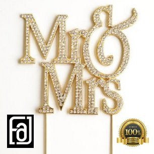 Mr and Mrs Gold Tone Bling Party Supplies Centerpiece Cake Topper Genuine Crystal Rhinestones Wedding Elegant